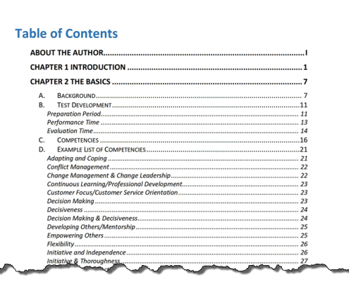 Table of Contents Sample